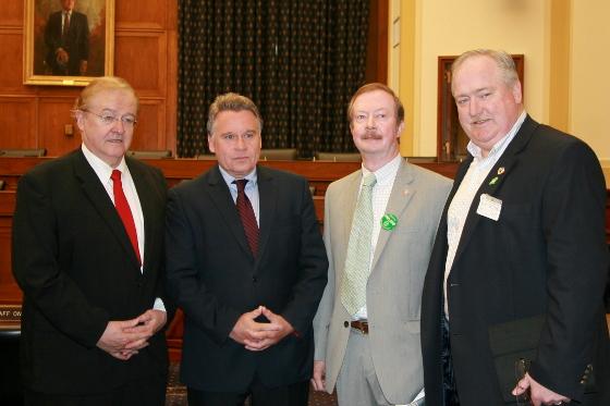 LtoR: Father Sean MacManus, Congressman Chris Smith, NJAOH Political Action Chairman Mike Glass, NJAOH President Sean Pender