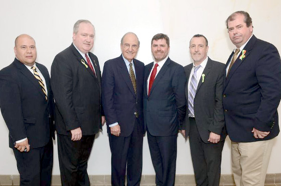 Pictured: Sean Hughes, Sean Pender, Senator Goerge Mitchell,  Mark Thompson, Malachy McAllister, Dan Dennehy